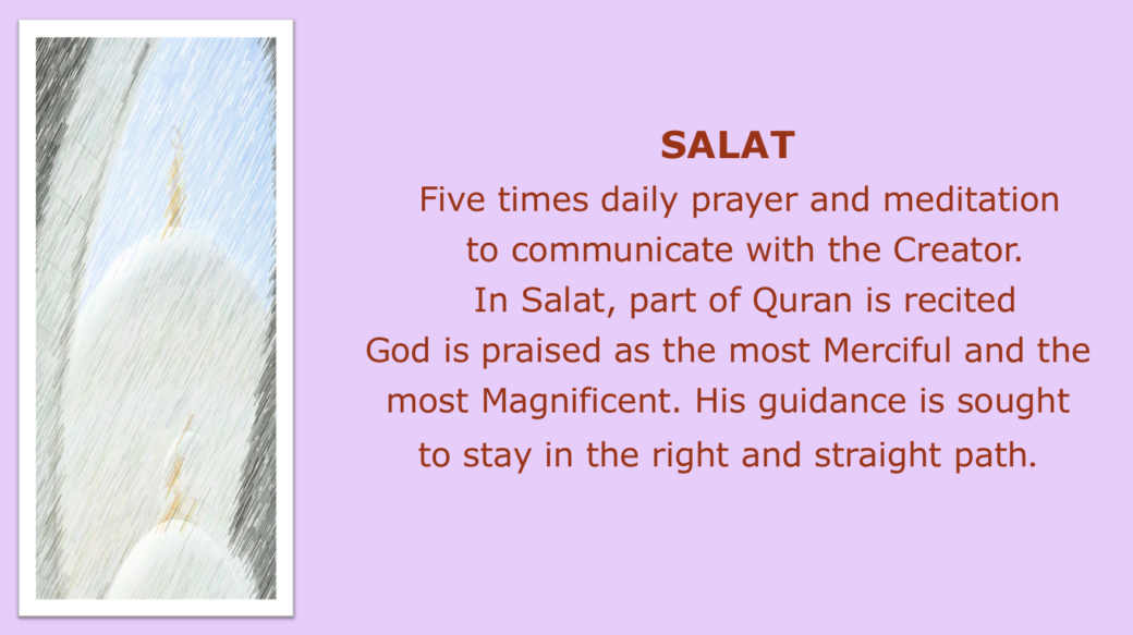 The Basic Practices in Islam five pillars of Islam, Salat, shahada, Siam. Zakah, Hajj