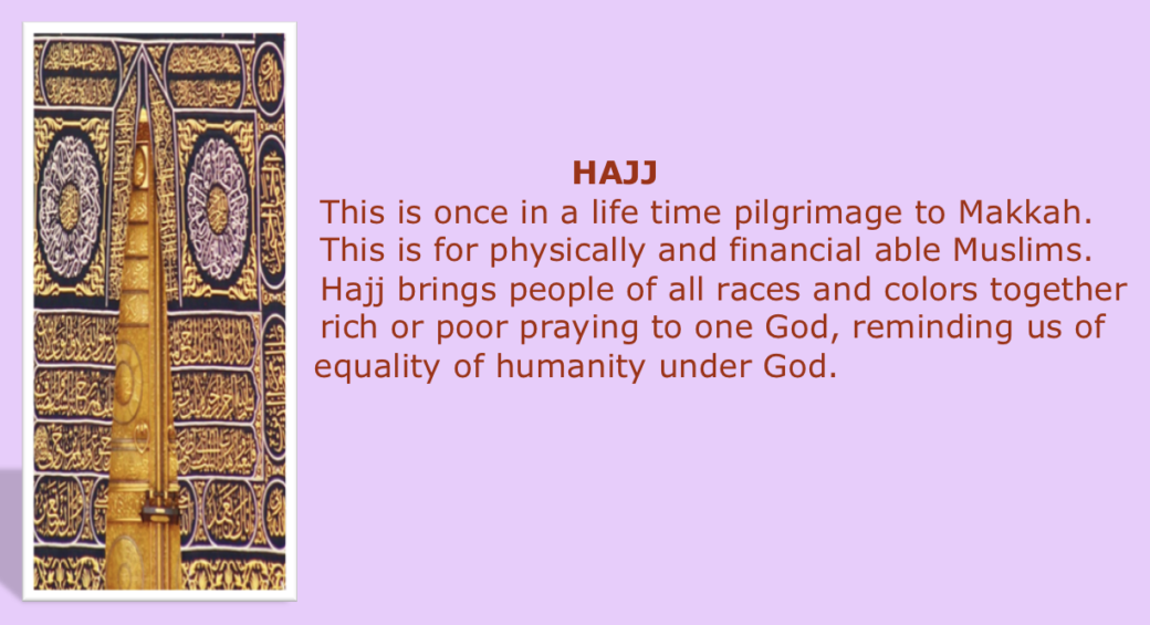 Hajj, The Basic Practices in Islam five pillars of Islam, Salat, shahada, Siam. Zakah, Hajj, purification,
