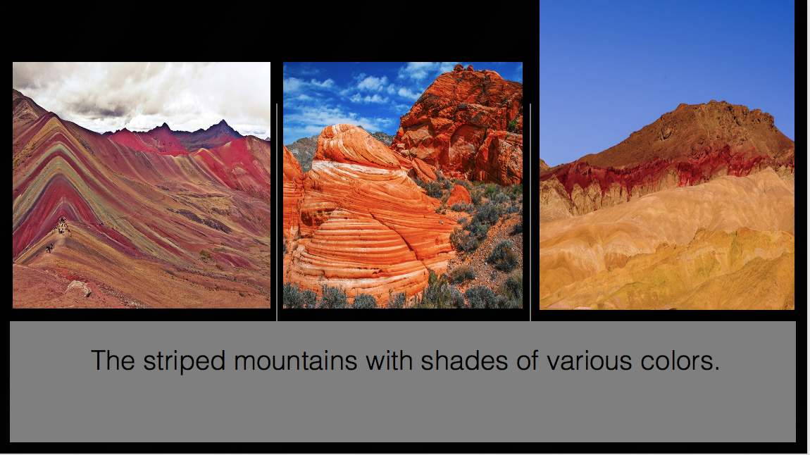 the striped mountains with shades of various colors.