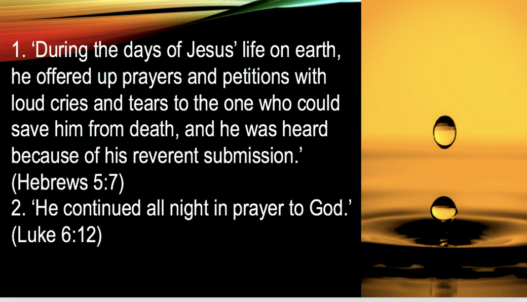 1. 'During the days of Jesus' life on earth, he offered up prayers and  petitions with loud cries and tears to the one who could save him from  death, and he was heard because of his reverent submission.' (Hebrews 5:7)  slide 60
