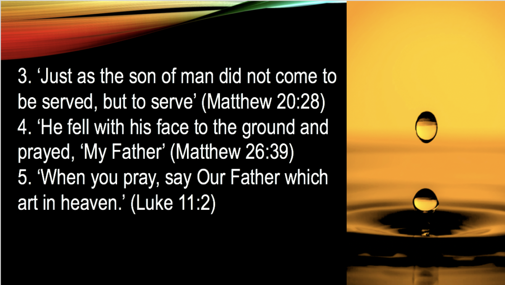 'Just as the son of man did not come to be served, but to serve' (Matthew 20:28) slide 61