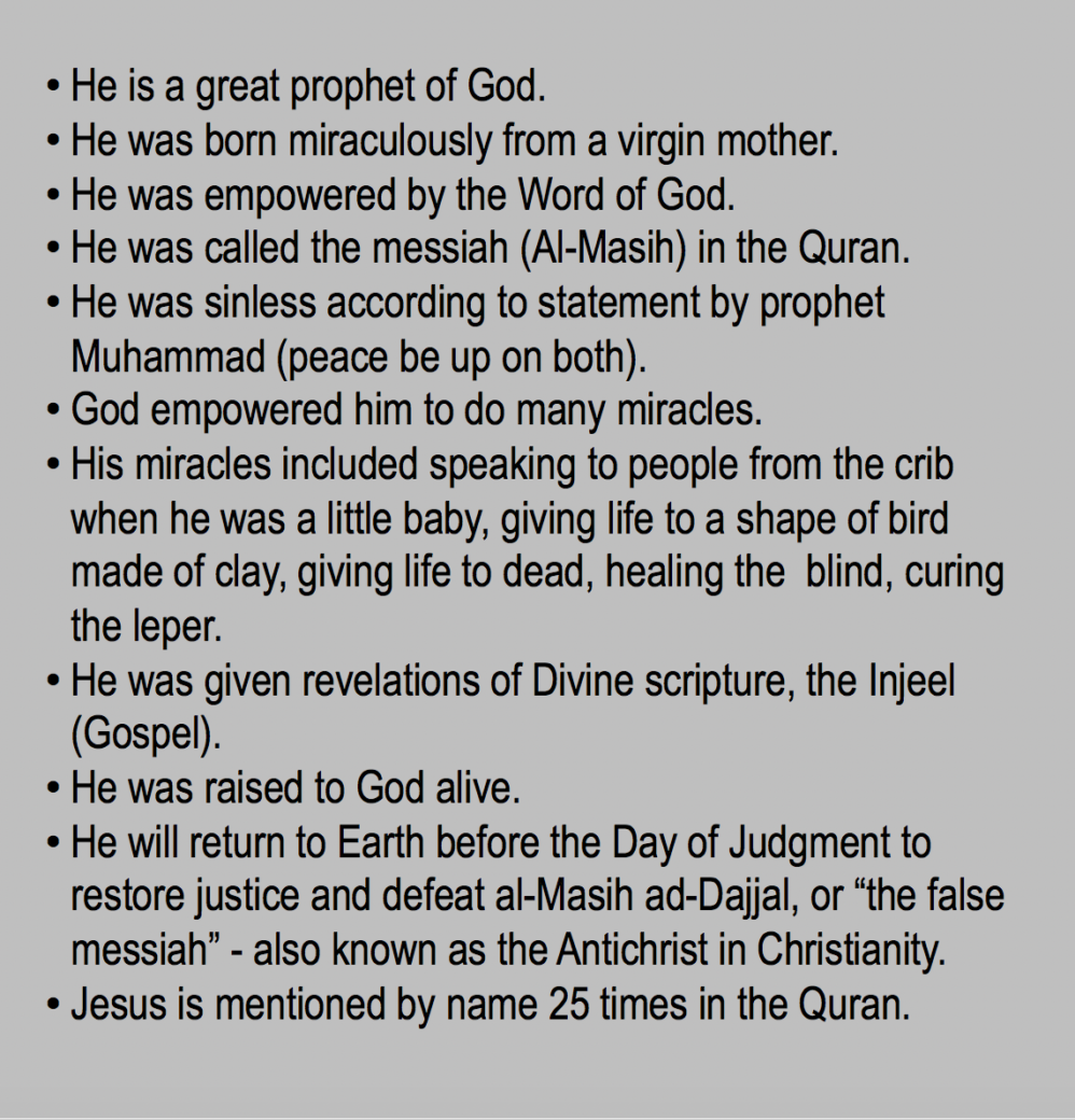 He is a great prophet of God. He was born miraculously from a virgin mother. He was empowered by the Word of God. He was called the messiah (Al-Masih) in the Quran. He was sinless according to statement by prophet Muhammad (peace be up on both). God empowered him to do many miracles. His miracles included speaking to people from the crib when he was a little baby, giving life to a shape of bird made of clay, giving life to dead, healing the  blind, curing the leper. https://qpeace.net